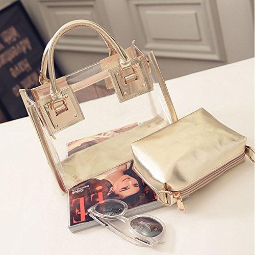 Bolso transparente elegante bien rematado y con materiales de calidad.