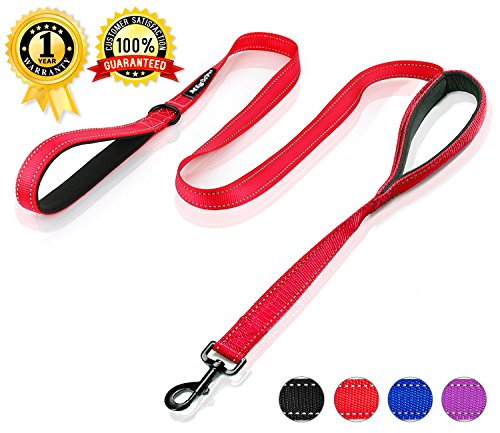 Reflective Two Handles Dog Leash with Comfortable Traffic Padded Handle 6ft Long Dog Training Leash Extra Durable Heavy Duty Dog leash for Medium or Large Dogs - By Migoo Pet - Red