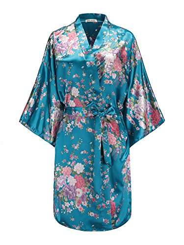 EPLAZA Women Floral Satin Robe Bridal Dressing Gown Wedding Bride Bridesmaid Kimono Sleepwear (Acid Blue)