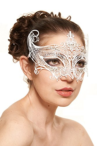Majestic Mardi Gras Mask - Enchanting Majestic White Masquerade Mask (Clear Rhinestones; One Size Fits All)