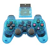 TPFOON Wireless Controller Double Vibration Gamepad Joystick For Playstation 2 PS2 Clear Blue