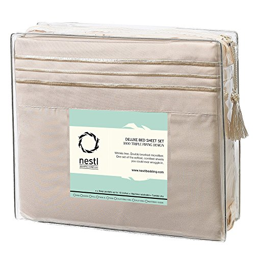 Cal King Size Bed Sheets Set Beige sheet Pillowcase Sets