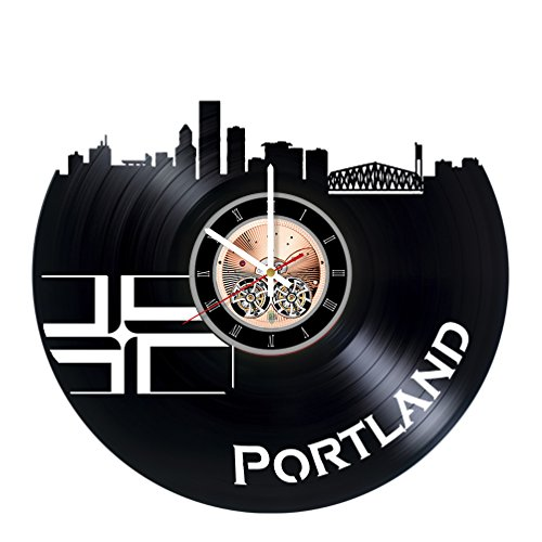 Portland Vinyl Record Wall Clock   Home Room Or Living Room Wall Decor   Gift Ideas For Friends  Men And Women   City Unique Art Design