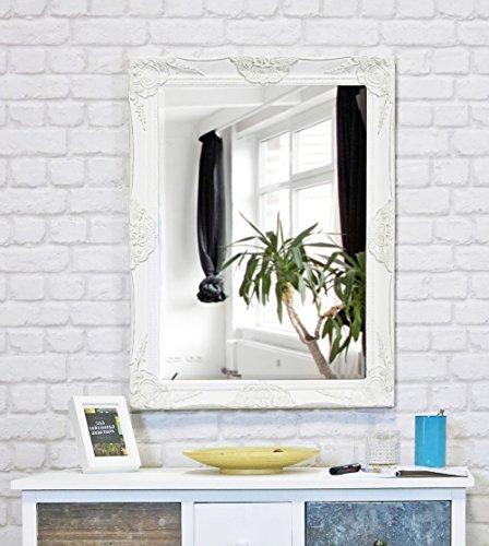My Flair Spiegel 62x82 cm im Barock-Stil, Wandspiegel, Standspiegel, mit Rahmen weiss 0902HH