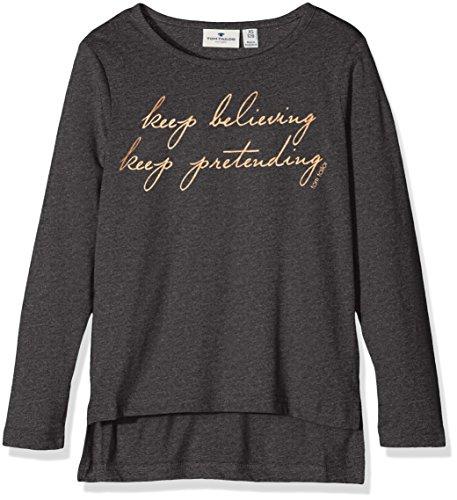 TOM TAILOR Kids Mädchen T-Shirt Longsleeve with Foil Print, Grau (Dark Stone Melange 2638), 152 (Herstellergröße: 152)