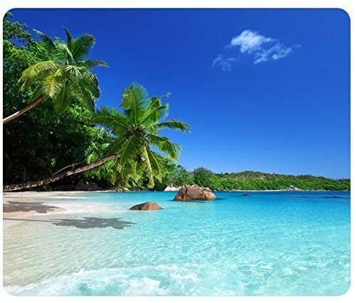 Tropical Paradise Sunshine Beach Coast Sea Palm Trees Mousepad,Custom Rectangular Mouse Pad