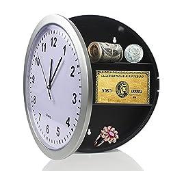 SINOCMP Wall Clock Hidden Safe Clock Safe Secret Safes Hidden Safe Wall Clock for Secret Stash Money Cash Jewelry, 10 inch Plastic Silver Wall Clock Compartment Stash Box