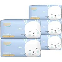 Soft 3-Ply Facial Tissues Natural Unscented Skin-Friendly Dry Tears Tissues 270 Sheets x 5 Packs