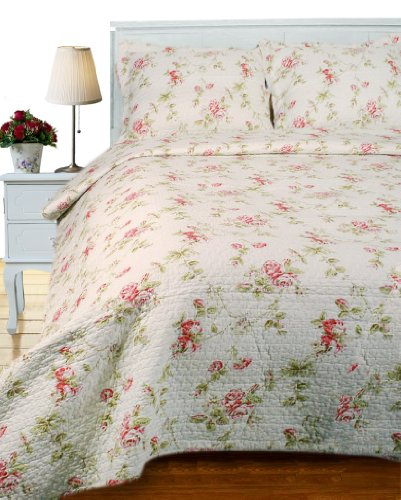 Price comparison product image Textile Plus 100-Percent Cotton Quilt Set, 106-Inch by 92-Inch, French Rose