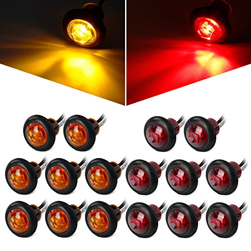 Partsam 8 Pcs Red & 8 Pcs Amber 3/4 Inch Mount LED Bullet Button Light Lamp Truck Trailer Round Side Marker Clearance Lights w/Plug/Connector Ends (Total of 16 - F100 Lens