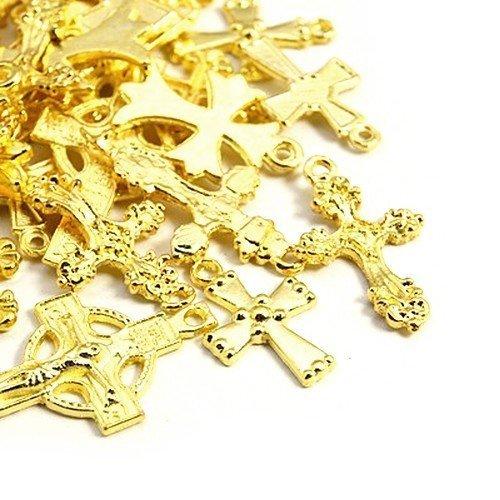 30 Grams Antique Gold Tibetan Random Shapes & Sizes charms (Cross) - (HA12370) - Charming Beads Something Crafty Ltd