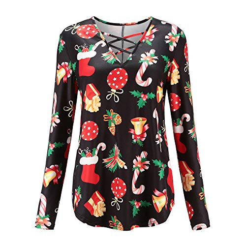 Women Santa Snowman Print T-Shirt Cross Neck Xmas Tops Blouse ()