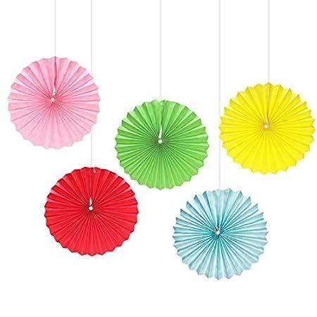Assorted Color Paper Fans  set of 5