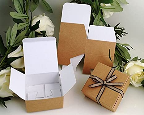 Pack de 5 cajas pequeñas de regalo (código F) estraza, cartulina plano, pack regalo, autoensamblable, caja apta para chocolates, joyería, pequeños regalos: ...