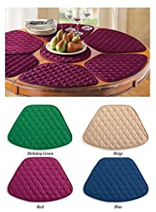 Amazon.com: Round Table Placemats (Set of 7) - Burgundy: Home & Kitchen