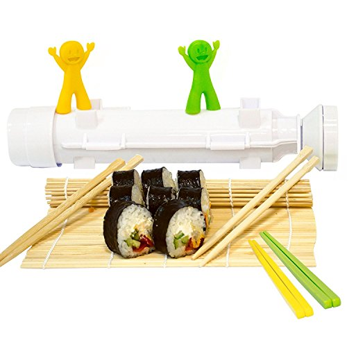 Sushi Bazooka, Sushi Mat and Two Sets of Bamboo Chopsticks and Silicone Helper (Training) Chopsticks,Kitchen Appliance Machine Rice Roller Making Kit by Cook&Life (Image #4)