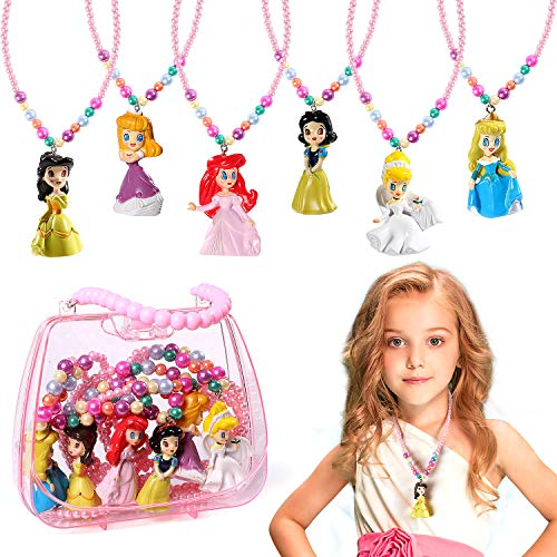 6 Pack Disney Princess Necklace Toys Princess Dress Up Disney Princess Necklace Activity Set for Girls Princess Snow White Cinderella Ariel Belle Aurora Party Favors