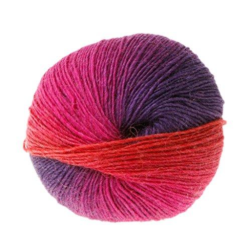 羊毛糸、Dabixx手織りレインボーカラフルなかぎ針編みカシミアウールブレンド糸 - 1ボール(50グラム) - 16#