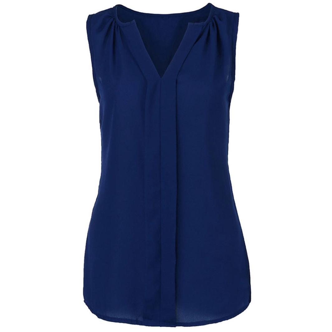 IMJONO Damen Womens Plus Größe Chiffon Weste Hemd ärmelloses Bluse Casual Tank Tops T-Shirt IMJONO women Jul.02