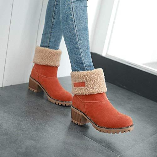 Orange Ladies Boots Bootie Winter Short Martin Warm Womens Flock Shoes Boots Snow PWqvwdUp1n