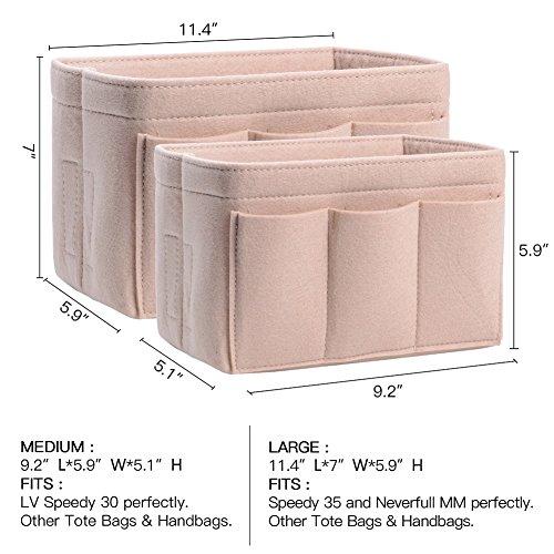 Purse Organizer, Bag Organizer With Sewn Bottom Insert New Design, Medium, Large (Large, Beige) by ZTUJO (Image #1)