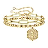 IEFWELL Beaded Bracelets for Women Girl, 14K Gold