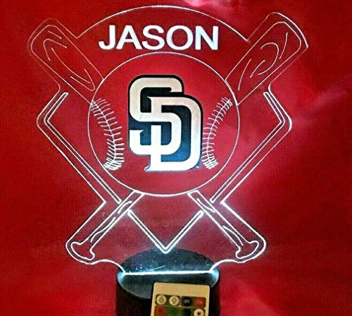 San Diego Beautiful Handmade Personalized Padres MLB Baseball Light Up Night Light Lamp LED Lamp, Our Newest Feature - It's WOW, With Remote, 16 Color Options, Dimmer, Free Engraved, Great Gift