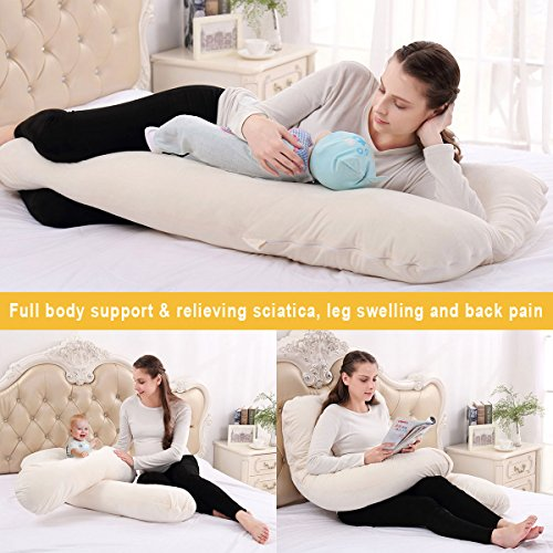 NiDream Bedding Body Pillow Pregnancy Maternity Pillow - U Shape - with Velvet Cover - for Side Sleeping and Back Pain - Growing Tummy Support - Ivory