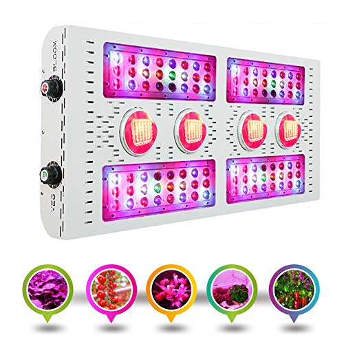 MaxBloom 800W COB LED Grow Light 12-Band Full Spectrum Plant Growing Lamp with Dimmable Veg/Bloom Channels, UV&IR for Greenhouse Hydroponic Indoor Plants Veg and Flower