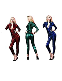 SHINYOU Women Mermaid Jumpsuit Long Sleeve Catsuit Skinny Stretch Bodysuit Costumes