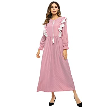 42aa73beb6 Amazon.com  Women Muslim Dress Floral Striped Lace O-Neck Abaya Islamic  Kaftan Dress Turkish Long Casual Loose Sundress Beige  Clothing