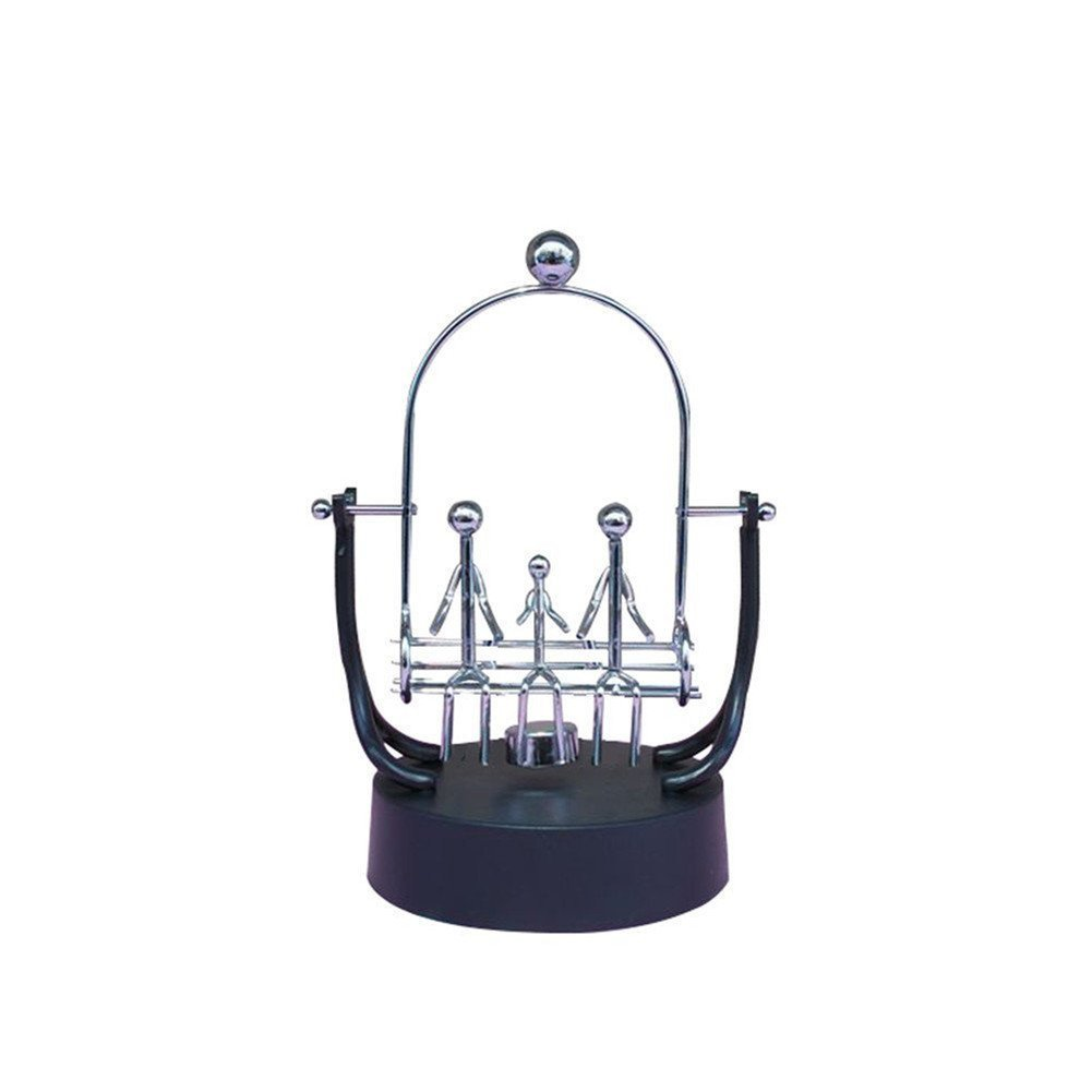 PROW Stainless Steel Frame Family 3 Members Swings Sculpture Model Perpetual Motion Balance Toy Newtons Cradle Best Office Desktop Decor Figurines Miniatures Gift