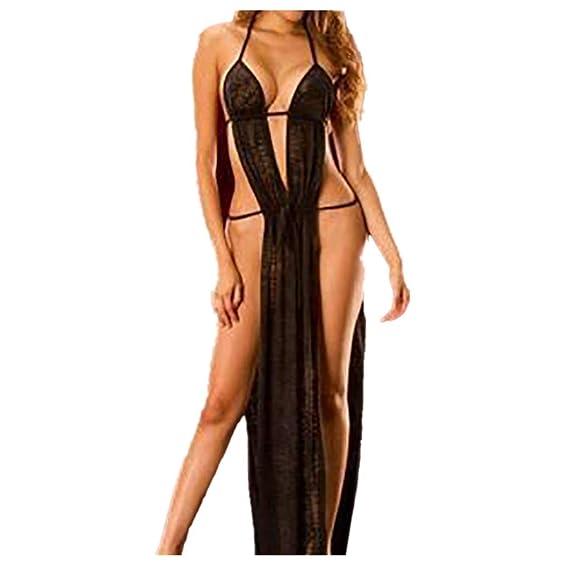 DEELIN SeñOra Gran TamañO Moda Sexy Ropa Interior MuñEca Traje Largo Vestido Negro/Blanco Pijamas CamisóN: Amazon.es: Ropa y accesorios
