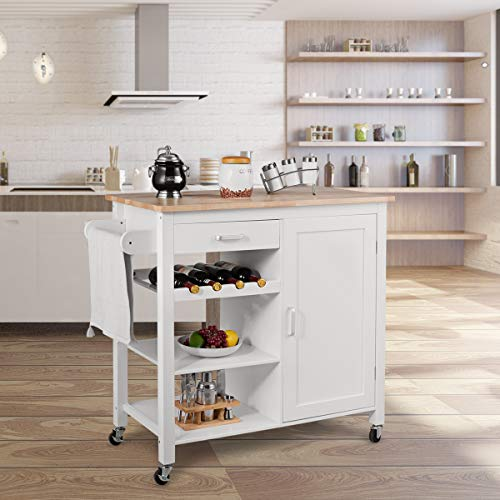 Giantex Kitchen Cart, Kitchen Island Cart with Towel Rack, Rolling Trolley Cart on Wheels with Storage Cabinet, Wine Rack and Drawers (White)