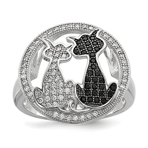 ICE CARATS 925 Sterling Silver Cubic Zirconia Cz Cat Band Ring Size 7.00 Animal Fine Jewelry Gift Set For Women Heart