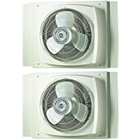 Lasko 16 Inch 3 Speed Powerful Electric Reversible Window Fan, White (2 Pack)