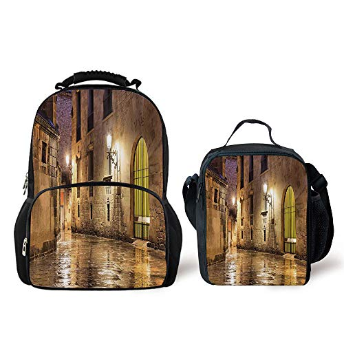 iPrint Schoolbags Lunch Bag,Gothic Decor,Gothic Ancient Stone Quarter Barcelona Spain Renaissance Heritage Gothic Night Street Photo,Cream, Bag by iPrint