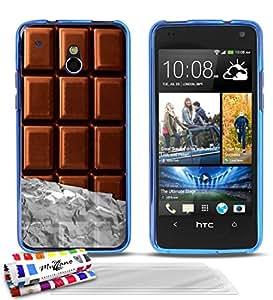 """Carcasa Flexible Ultra-Slim HTC ONE MINI (M4) de exclusivo motivo [Chocolate] [Azul] de MUZZANO  + 3 Pelliculas de Pantalla """"UltraClear"""" + ESTILETE y PAÑO MUZZANO REGALADOS - La Protección Antigolpes ULTIMA, ELEGANTE Y DURADERA para su HTC ONE MINI (M4)"""