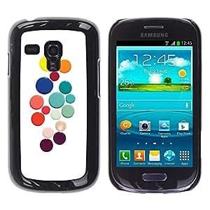 Be Good Phone Accessory // Dura Cáscara cubierta Protectora Caso Carcasa Funda de Protección para Samsung Galaxy S3 MINI NOT REGULAR! I8190 I8190N // Color White Dots Colorful