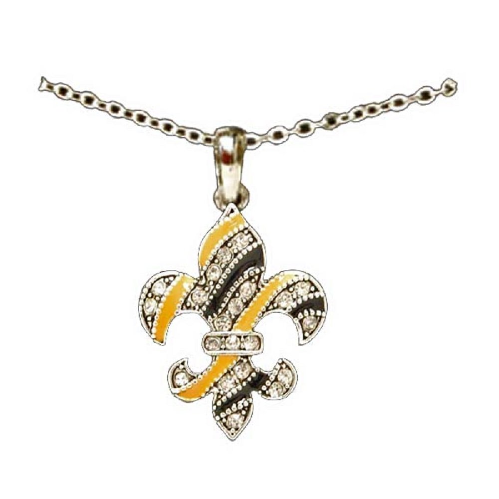 Drew Brees,/& NOLA Rebirth.WHO DAT! NEW ORLEANS SAINTS Fleur de Lis 18 Necklace is Black /& Gold Enamel Embellished with Crystal Rhinestones.Celebrate Saints Football