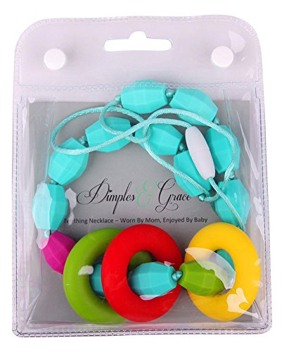 Dimples & Grace Fun Turquoise Teething Necklace for Mom and Grandmother to Wear, Soft Rainbow Donut Chewable Silicone Baby Teether Toy to Distract Infant/toddler During Nursing, Great Gift for Parents. - Date Turquoise Necklace