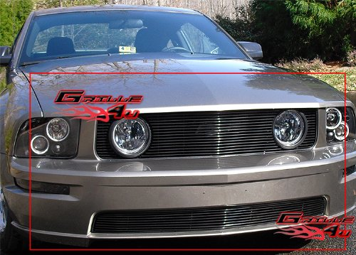 APS Compatible with 2005-2009 Ford Mustang GT V8 Black Billet Grille Combo -