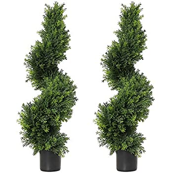 Image of Home and Kitchen Damomo 3ft Topiary Trees Artificial Plants Green Spiral Cypress Tree Potted Fake Plant Greenery for Decorative Indoor or Outdoor(35inch) (2 Pieces)