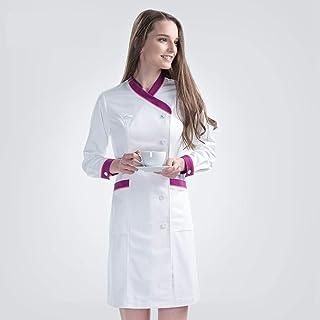 QZHE Abbigliamento medico Uniforme da Lavoro per L'Estetista Spa della Manica Lunga Bianca con Colletto Medico E L'Uniforme da Infermiera