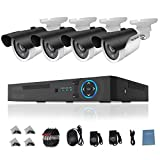 TECBOX 4 Channel 720P AHD Home Security Camera System DVR Recorder with 4 HD 1.3MP Waterproof Night vision Indoor/Outdoor CCTV Surveillance Camera No