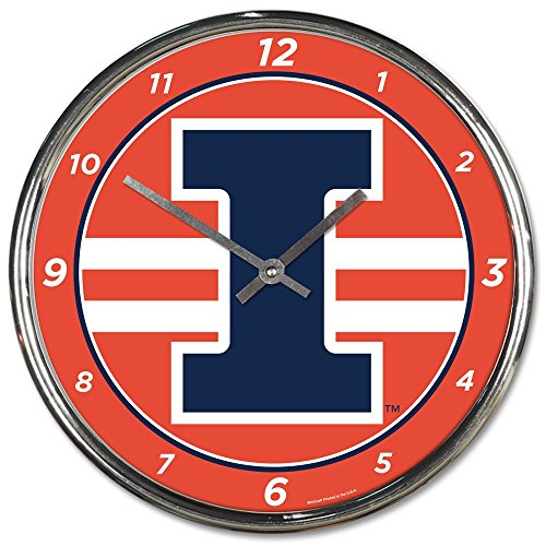 Wincraft Illinois Fighting Illini 12 inch Round Wall Clock Chrome - Dorm Fighting Illini Illinois