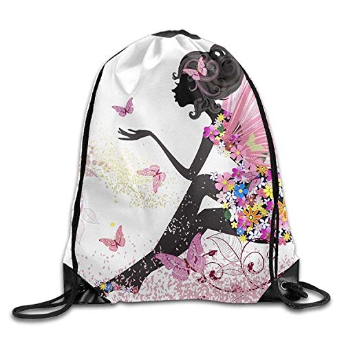 Butterfly Girl Print Drawstring Backpack Rucksack Shoulder Bags Gym Bag...