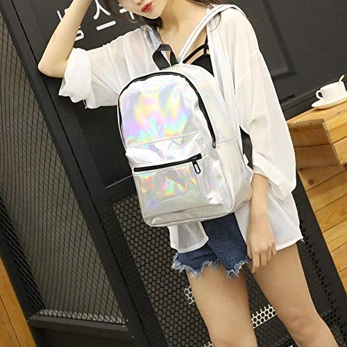 Girls Capacity School Holographic Shiny Backpack Large Bags Silver Women Bags Shoulder wIqYSx
