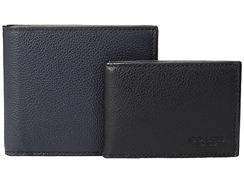 Mens Midnight Wallet COACH 3 1 Leather Black in Set axdqBH4