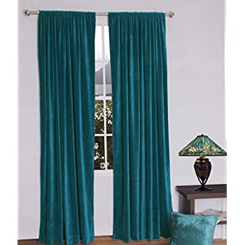 Amazon Com Jovi Home Velvet Window Curtain 52 By 96 Inch Teal Home Amp Kitchen